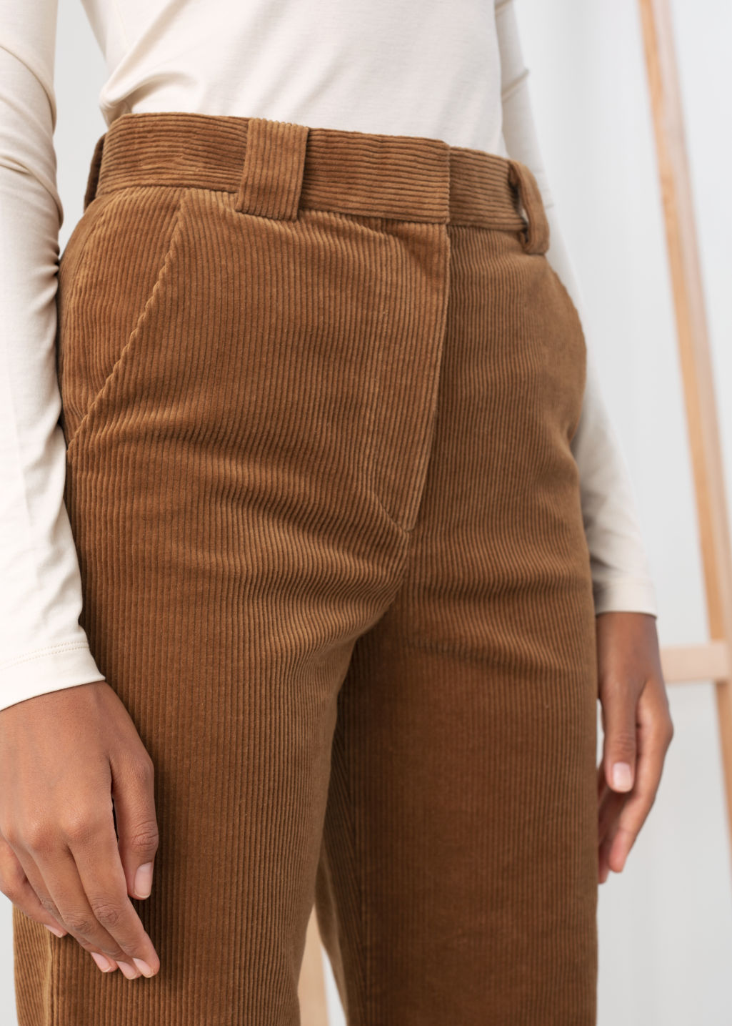 Model back image of Stories corduroy flared trousers in beige