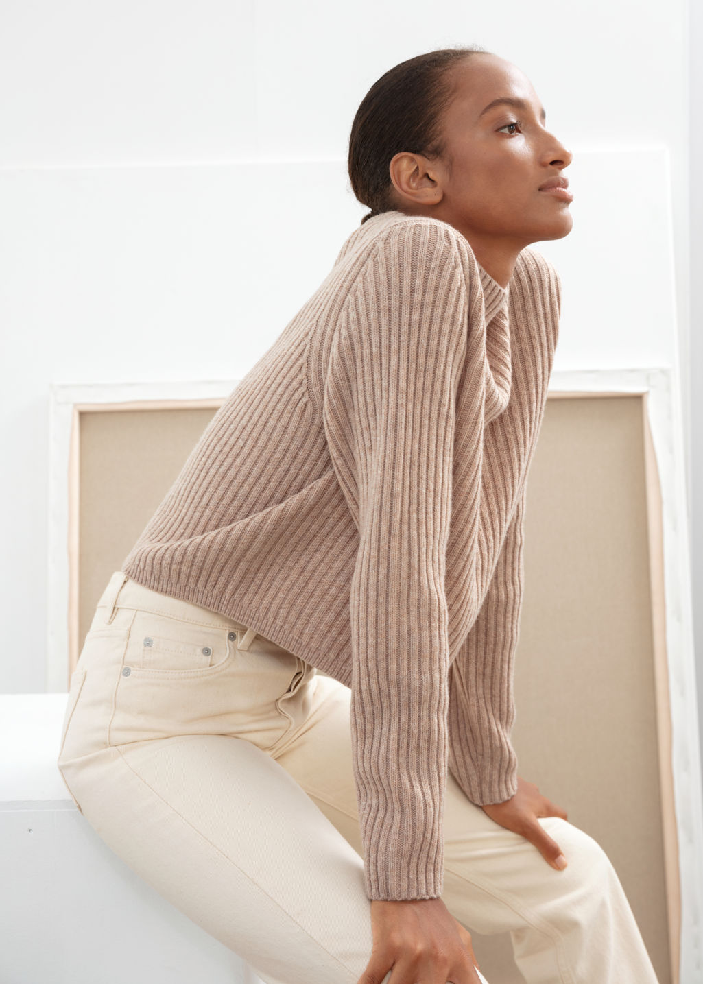 Model front image of Stories ribbed wool relaxed turtleneck in beige