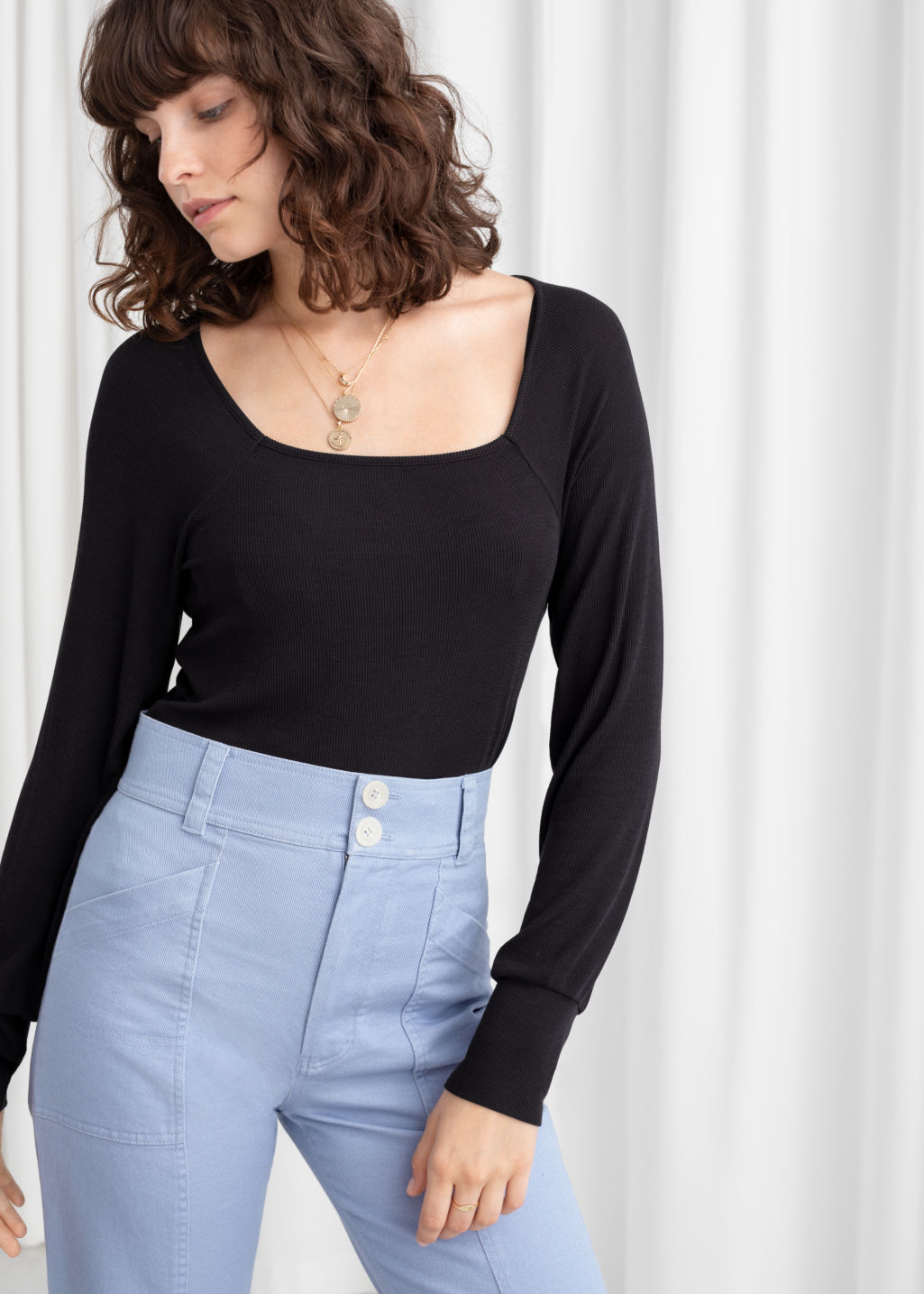 the sale of shoes 100% high quality check out Relaxed Square Neck Ribbed Top - Black - Long Sleeve Tops - & Other Stories