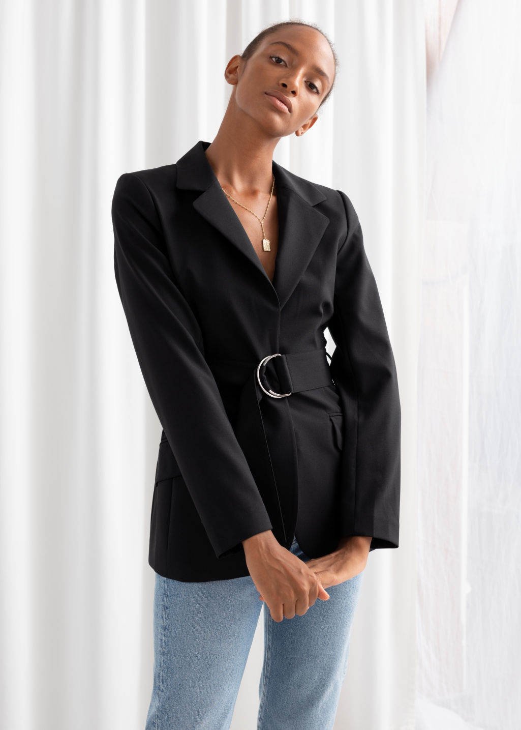 Model front image of Stories wool blend belted blazer  in black