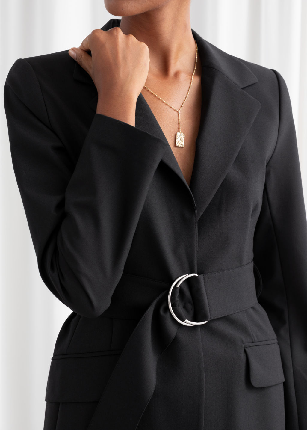 Model back image of Stories wool blend belted blazer  in black