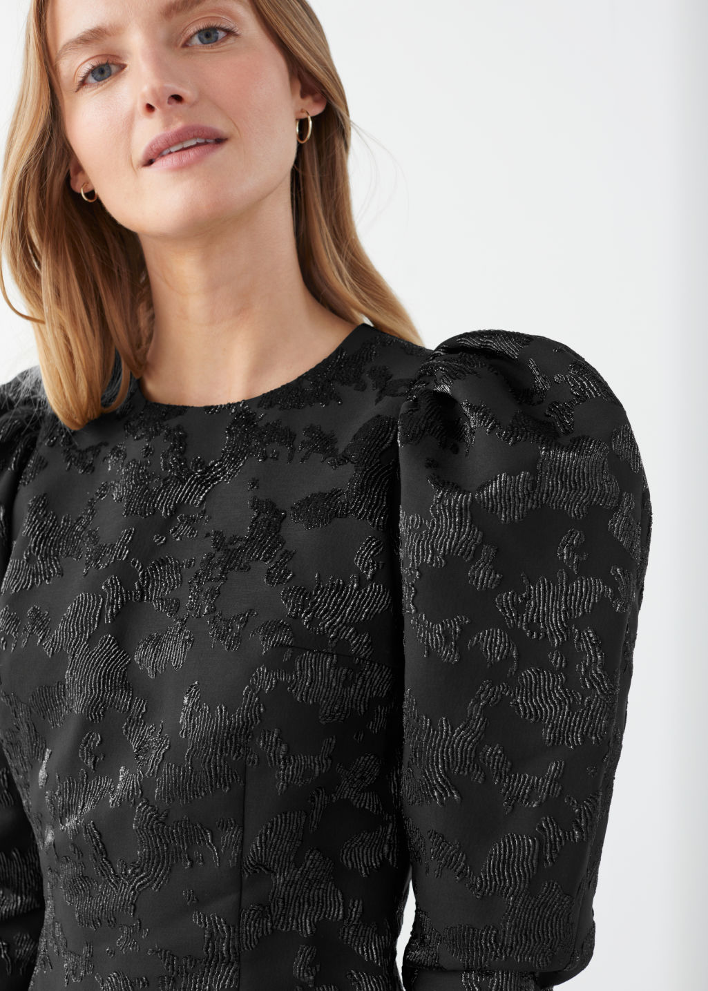 Model front image of Stories puff sleeve mini jacquard dress in black