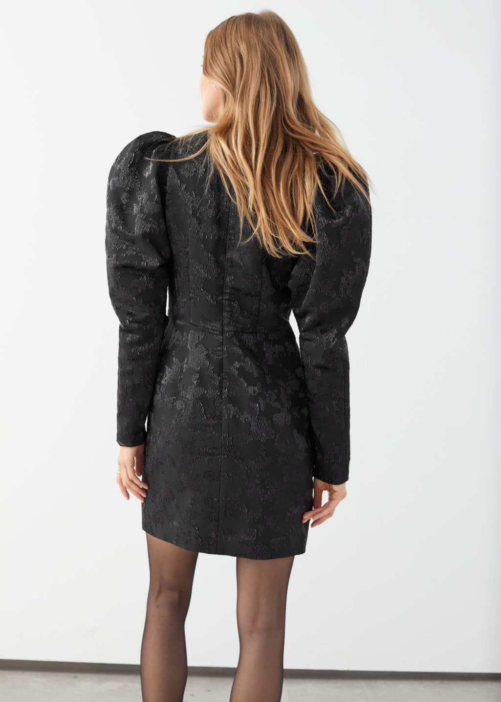 Model back image of Stories puff sleeve mini jacquard dress in black
