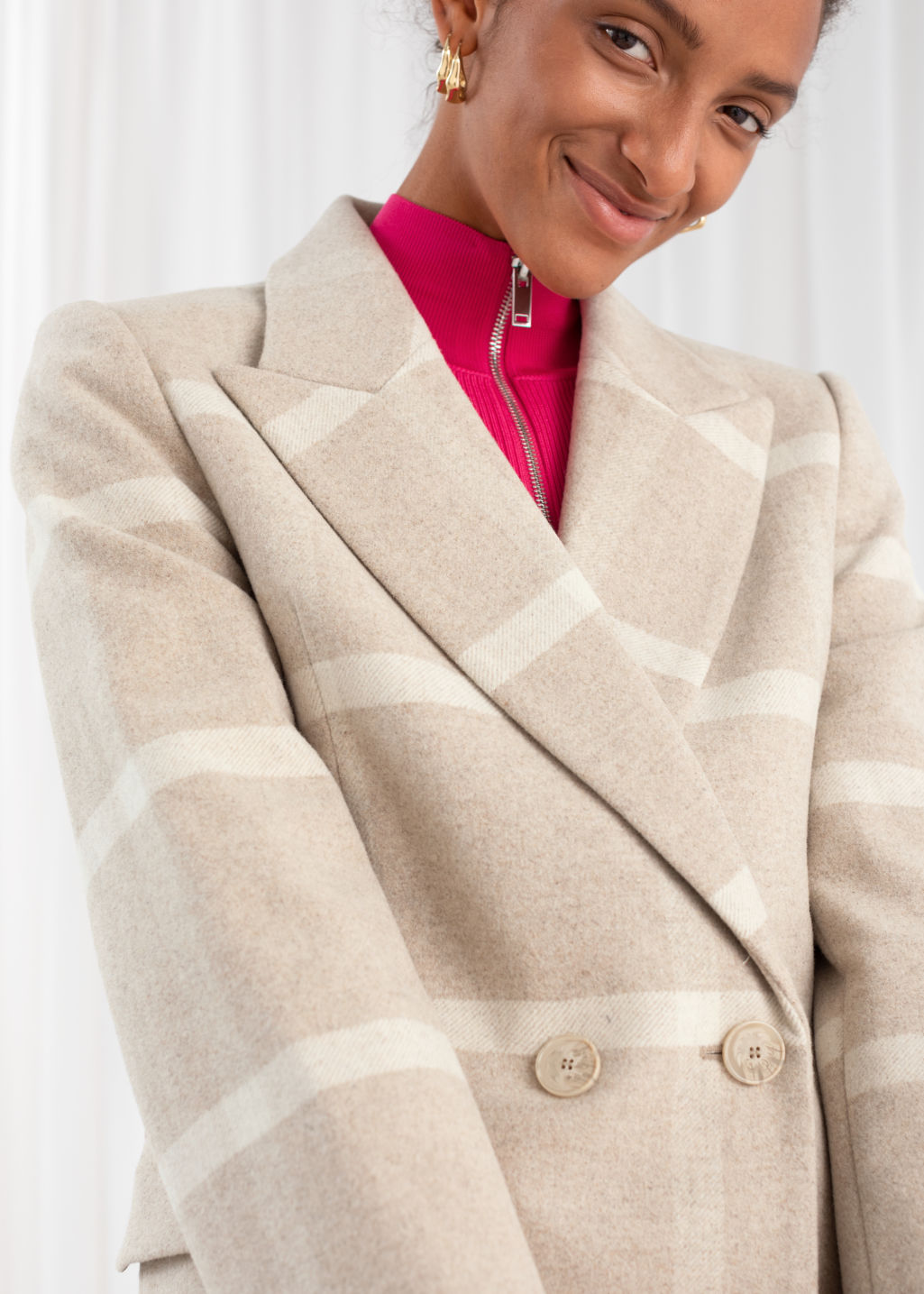 Model back image of Stories wool blend herringbone check jacket in beige