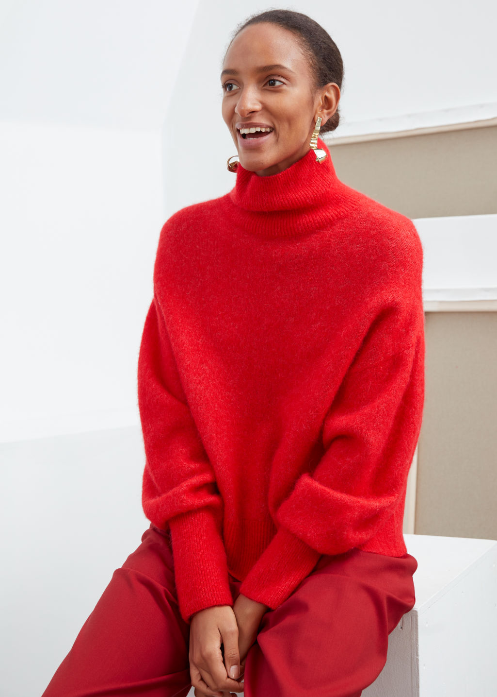 Model front image of Stories soft wool blend turtleneck sweater in red