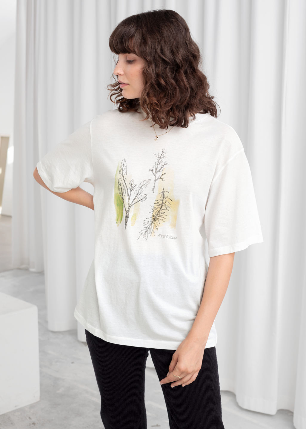 Model back image of Stories oversized oh man graphic tee in white