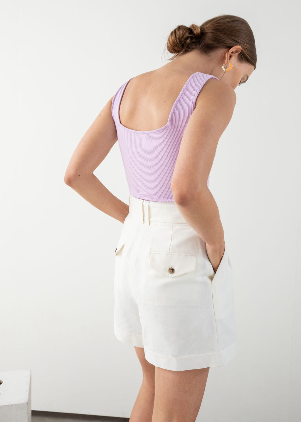 Model back image of Stories square neck bodysuit in purple