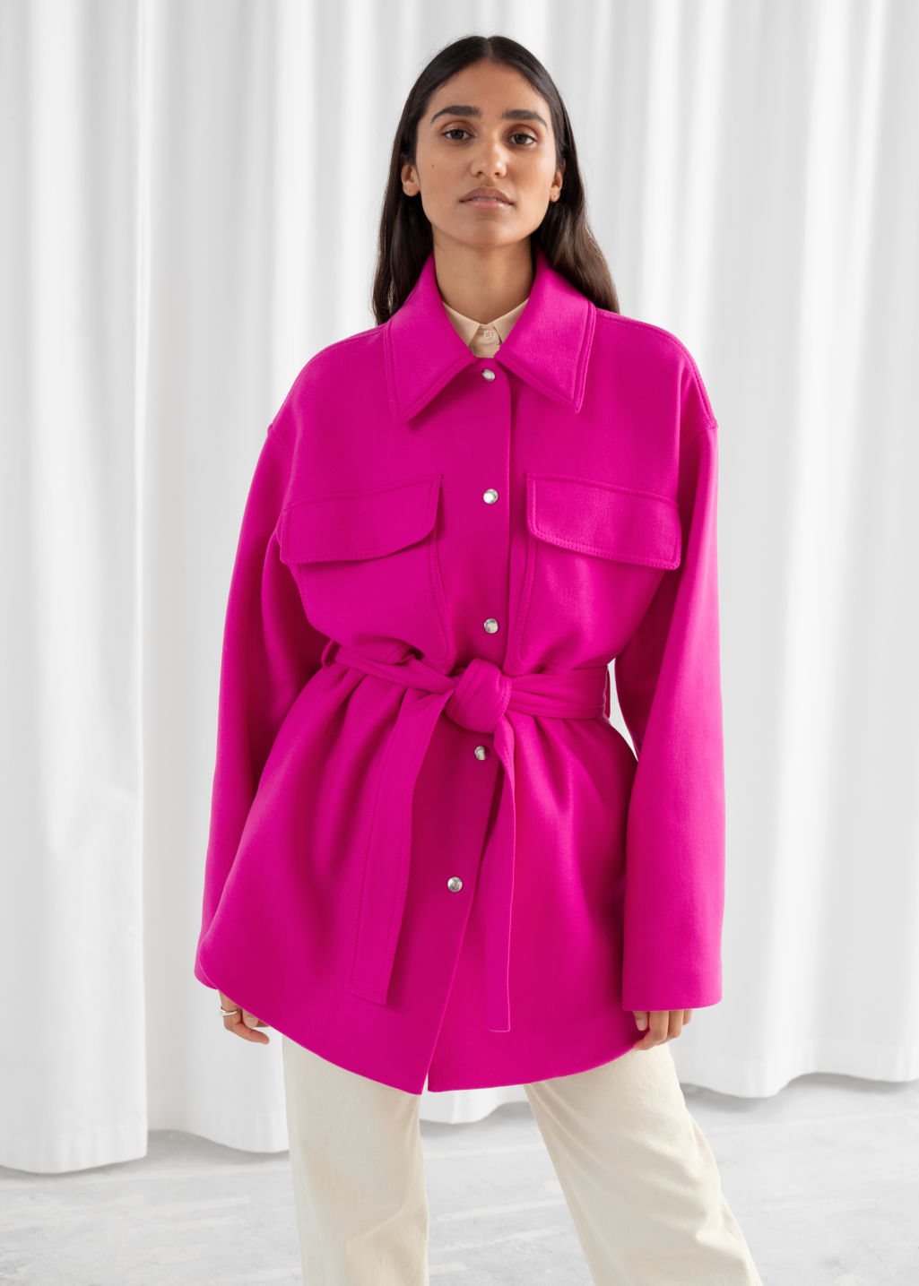 Model front image of Stories wool blend belted overshirt jacket in purple