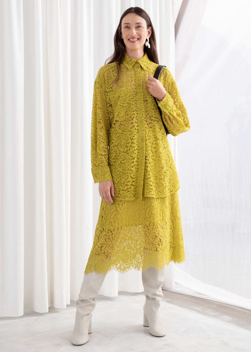 Model front image of Stories relaxed floral lace shirt in yellow