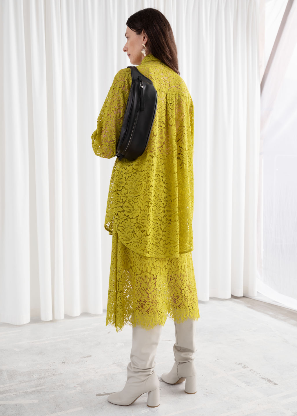 Model back image of Stories relaxed floral lace shirt in yellow