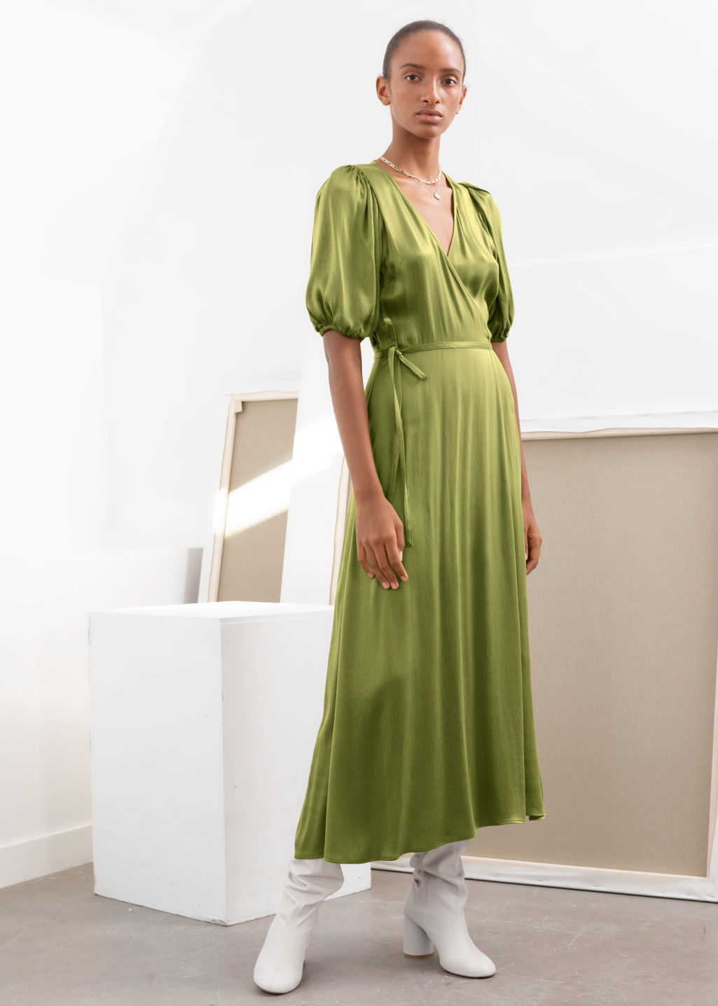 Model front image of Stories puff sleeve maxi wrap dress in yellow