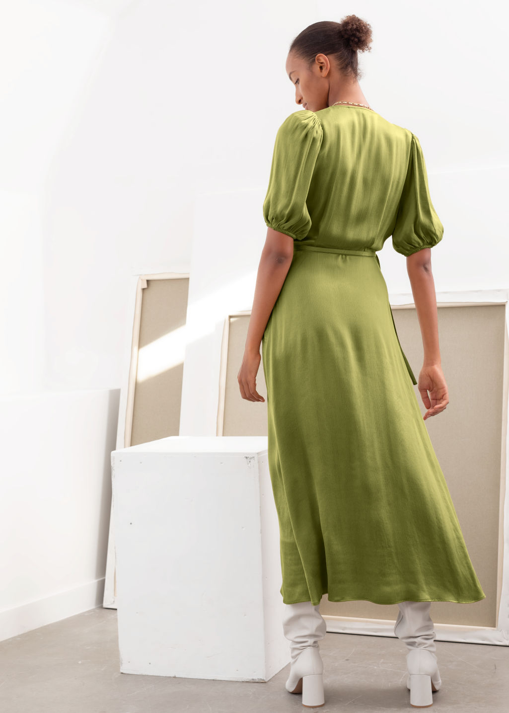 Model back image of Stories puff sleeve maxi wrap dress in yellow