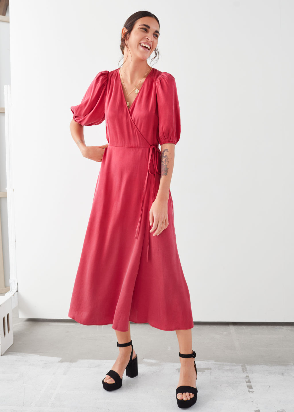 Model front image of Stories puff sleeve maxi wrap dress in red