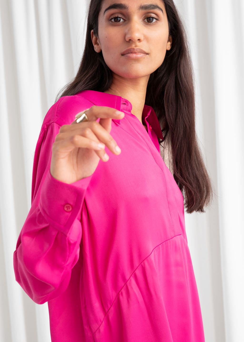 Model front image of Stories flowy satin shirt dress in pink