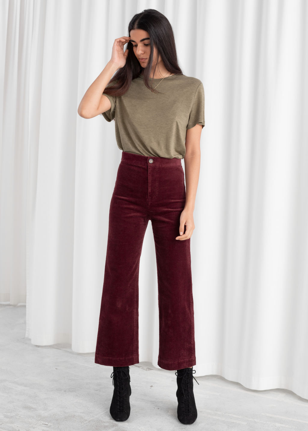 Model front image of Stories relaxed corduroy trousers in red