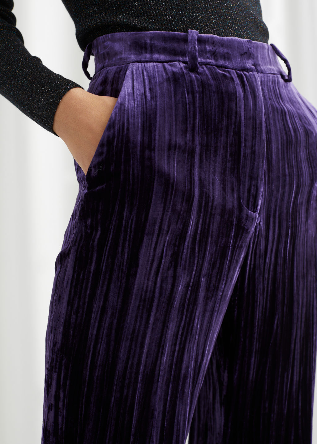 Model front image of Stories velvet cord kick flare trousers in purple