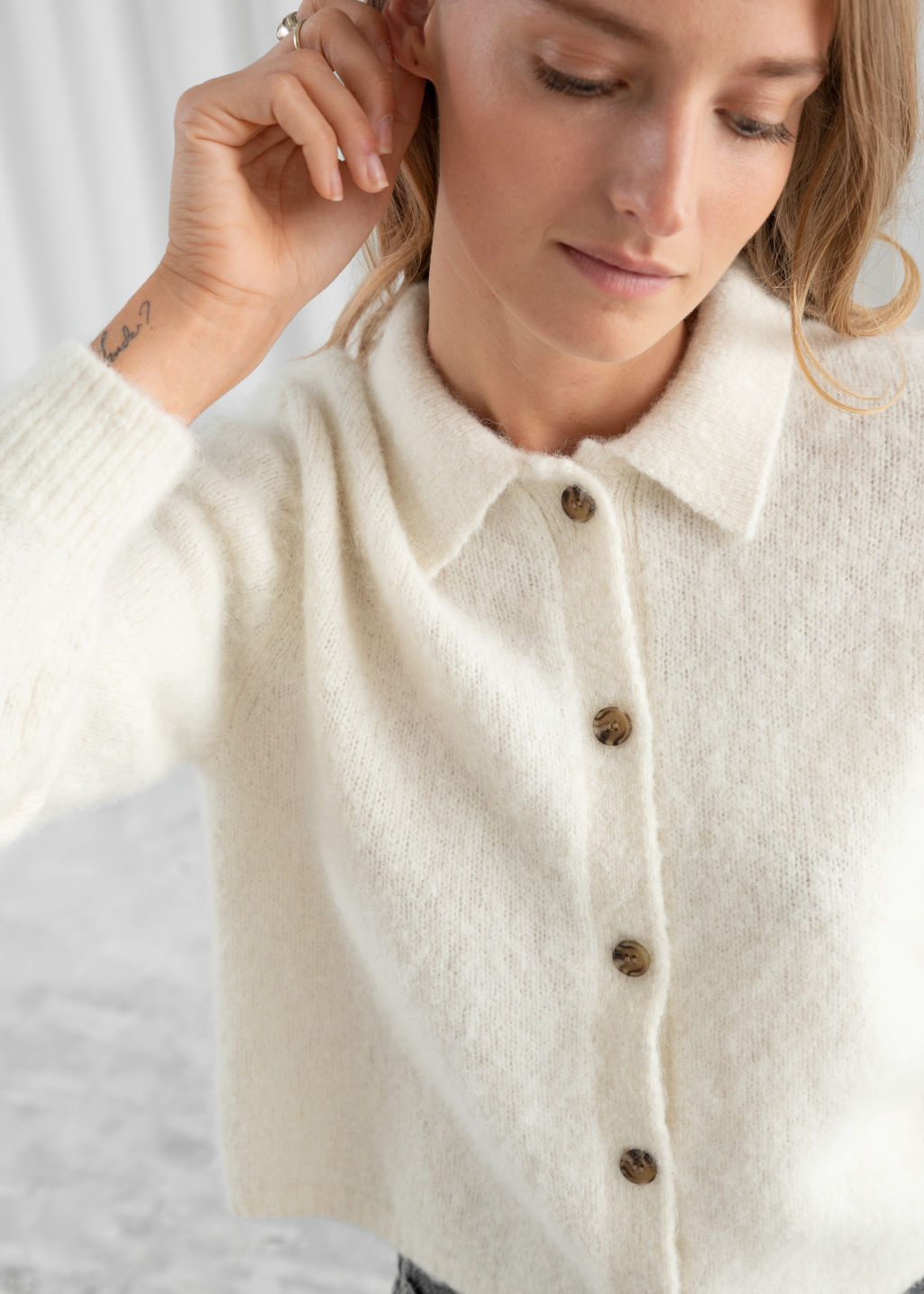 Model back image of Stories wool blend tortoise button cardigan in white