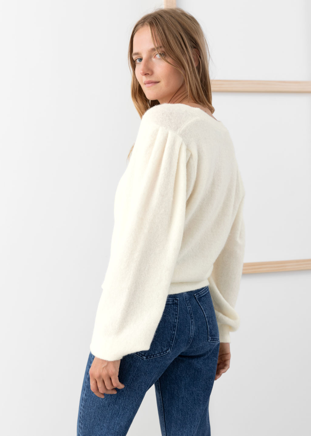 Model back image of Stories wool blend puff shoulder cardigan in white