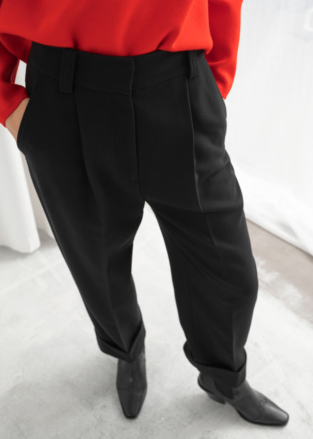 Model front image of Stories tailored wide leg cuffed trousers in black