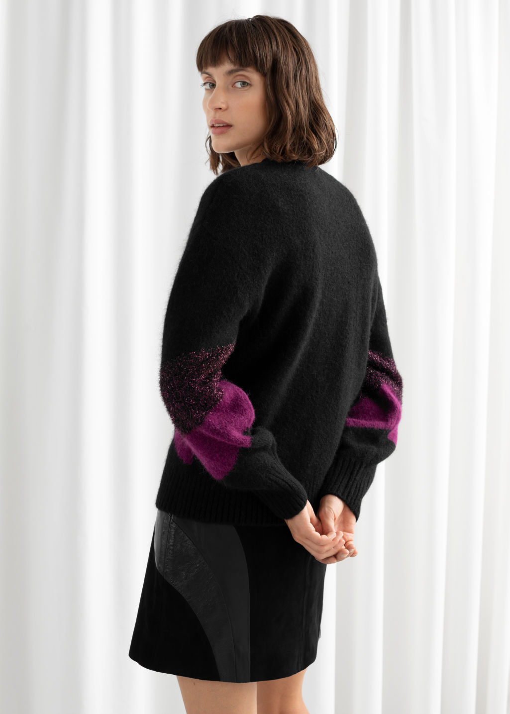 Model back image of Stories glitter colour block wool blend sweater in black