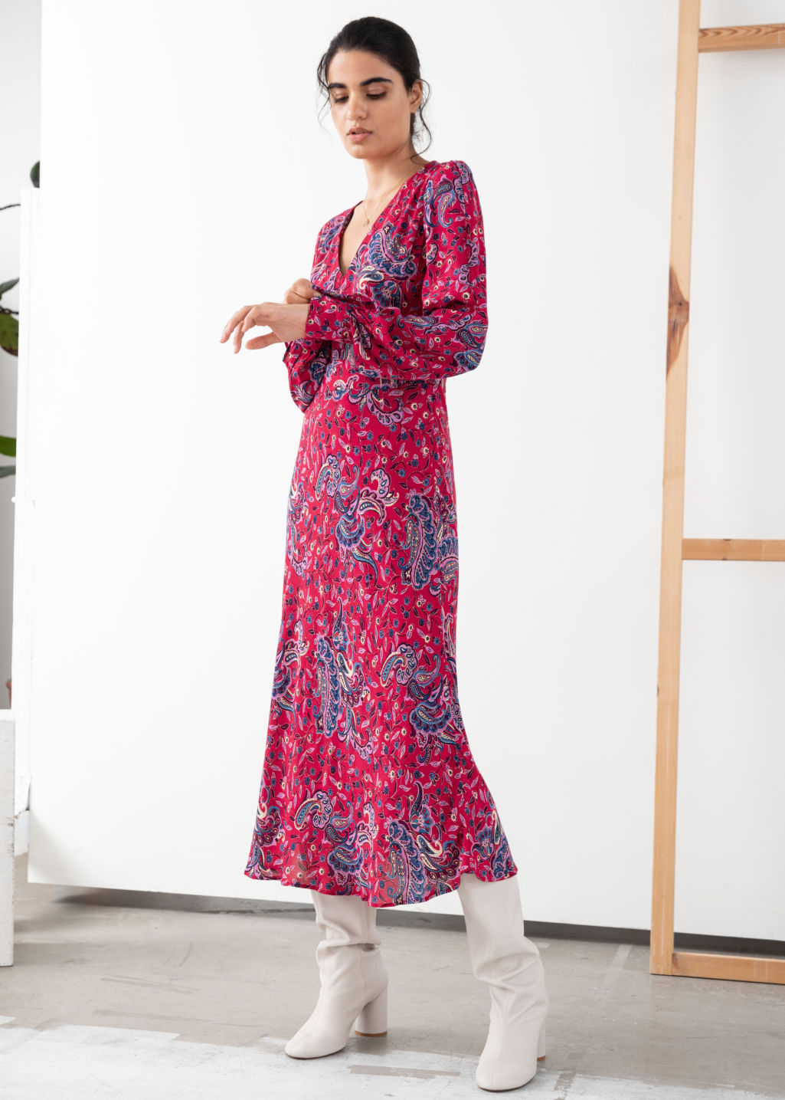 Paisley V Cut Midi Dress Pink Dresses Other Stories