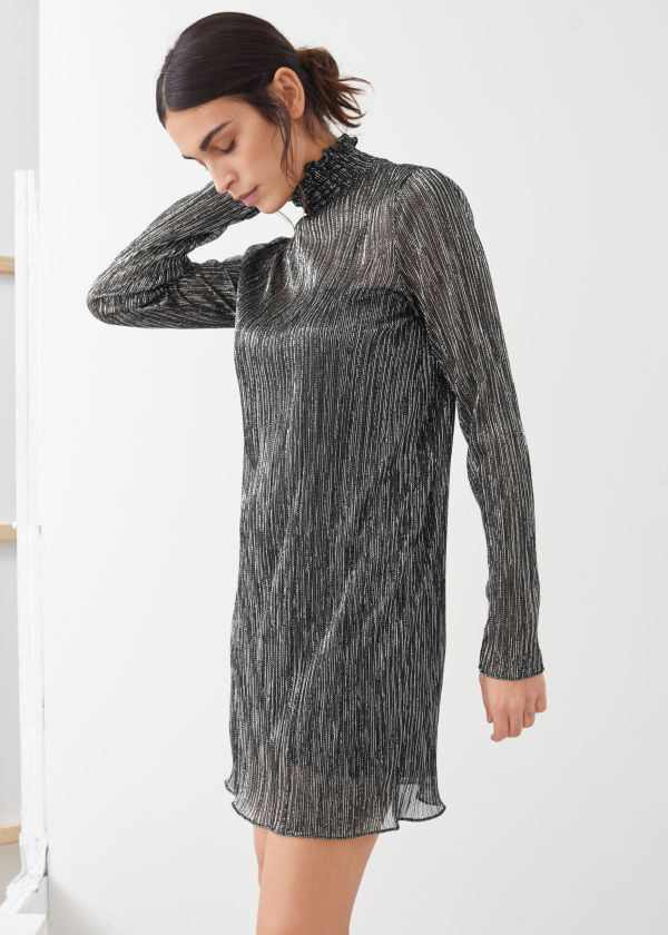 Smocked Turtleneck Mini Glitter Dress