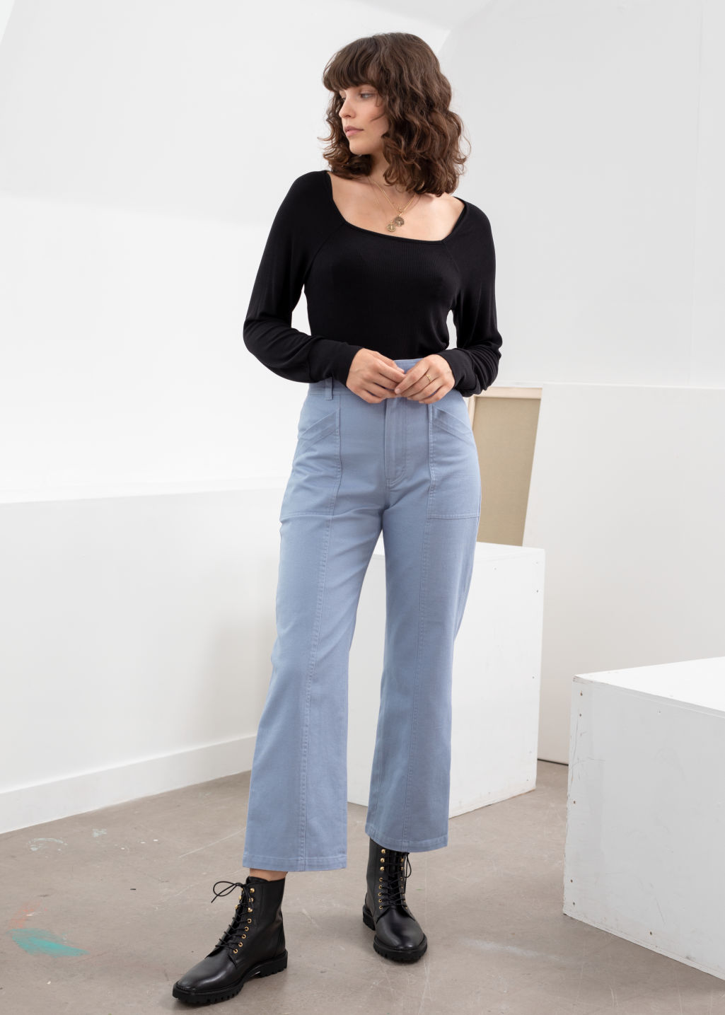 Model front image of Stories topstitch workwear trousers in blue