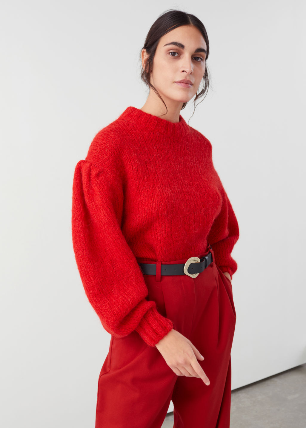Model front image of Stories wool blend puff sleeve sweater in red