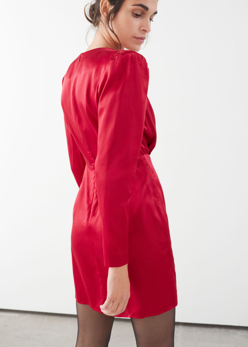 Model back image of Stories satin buckle tie mini wrap dress in red