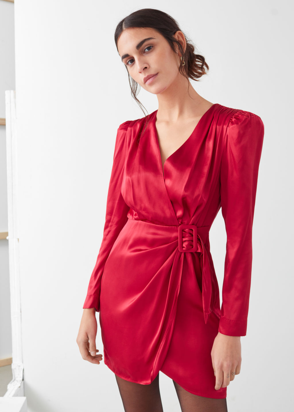 Model front image of Stories satin buckle tie mini wrap dress in red