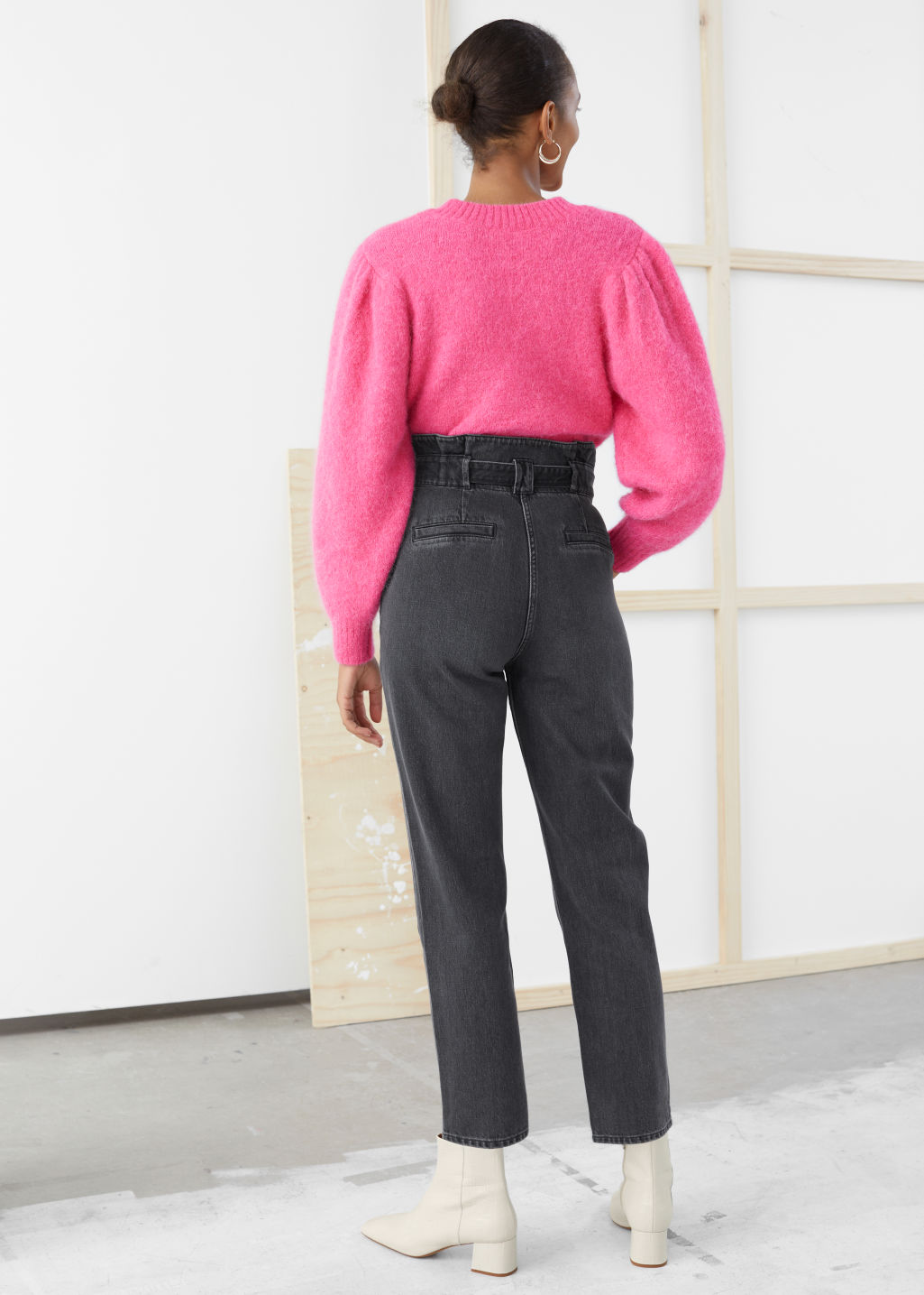Model back image of Stories puff sleeve cropped cardigan in pink