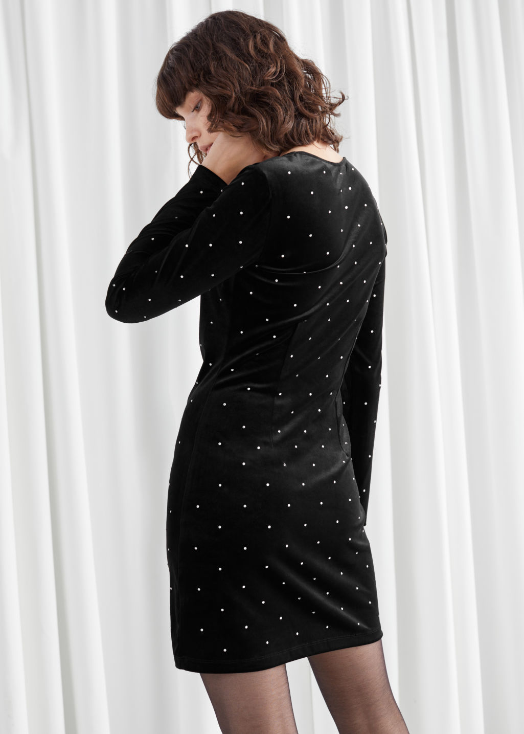 Model back image of Stories diamanté dots velvet mini dress in black