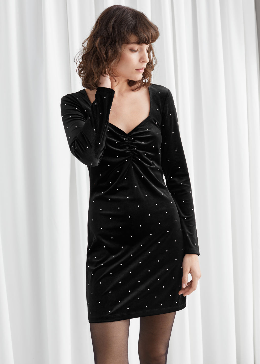 Model front image of Stories diamanté dots velvet mini dress in black