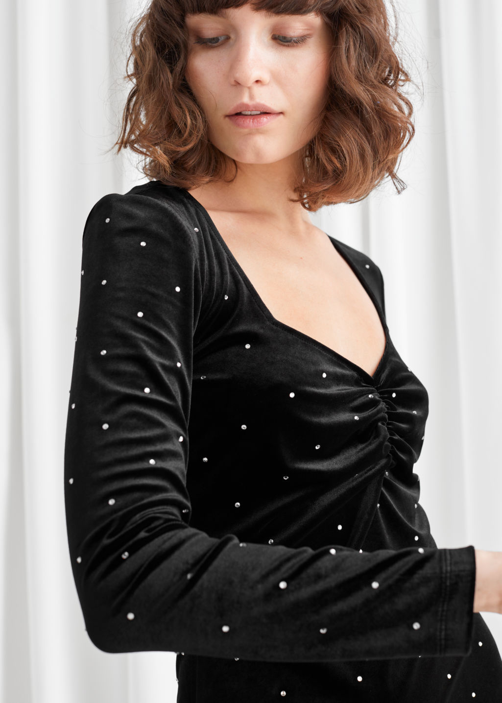Model side image of Stories diamanté dots velvet mini dress in black