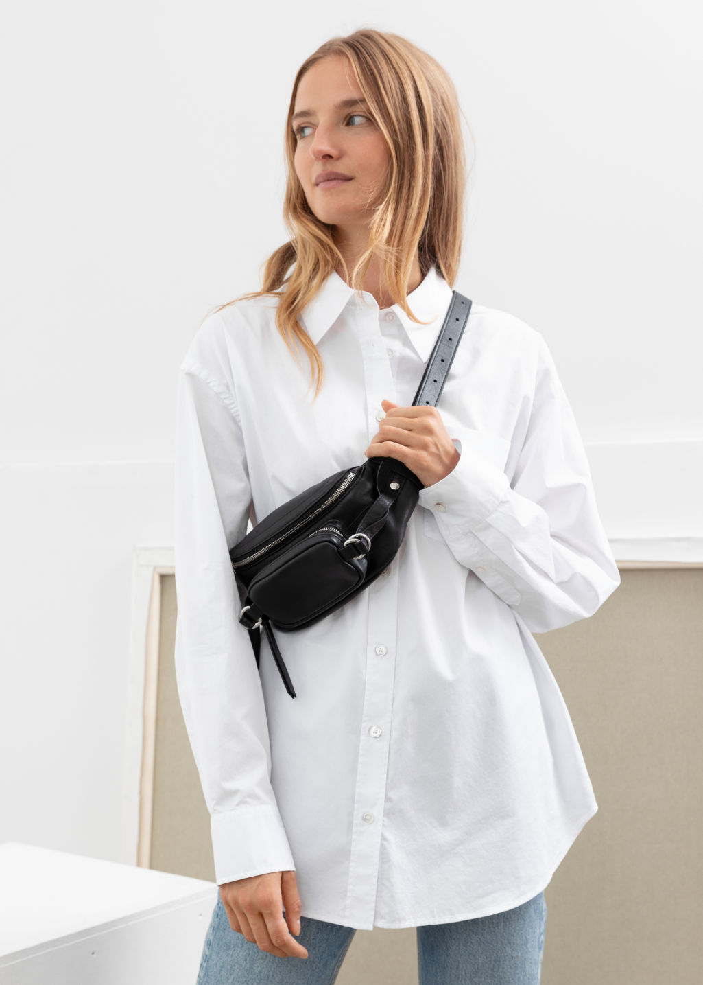 Model front image of Stories oversized organic cotton shirt in white