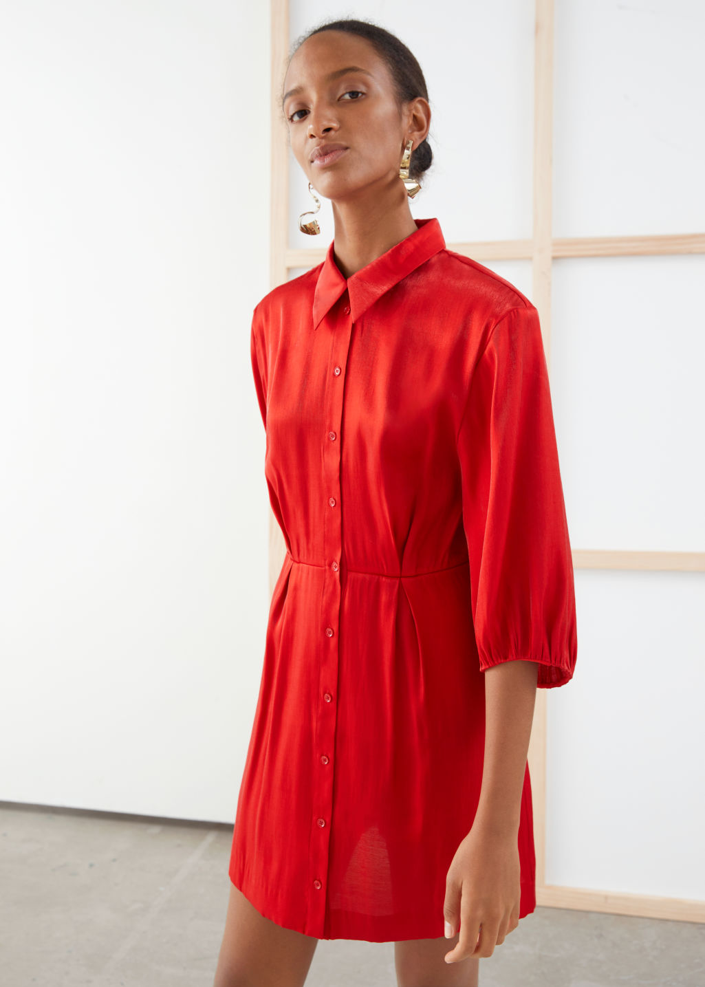 Model front image of Stories balloon sleeve mini shirt dress in red