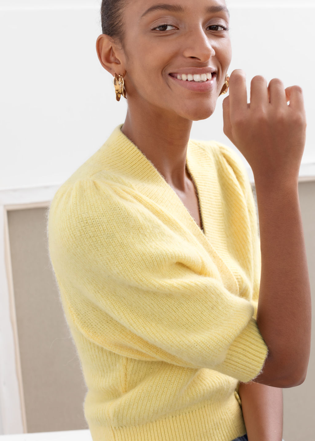 Model back image of Stories puff sleeve wool blend cardigan in yellow