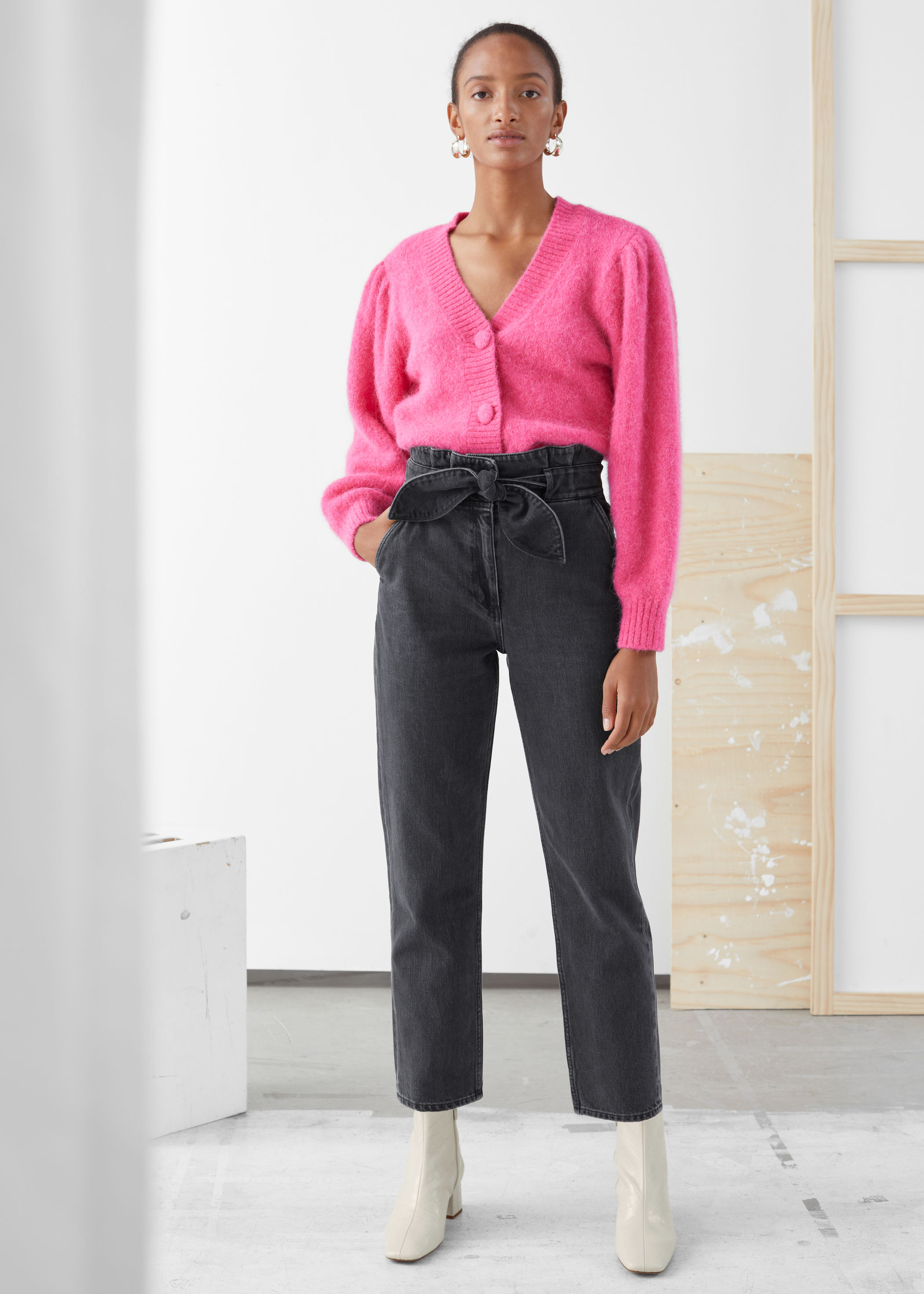 Denim Paperbag Waist Trousers by & Other Stories