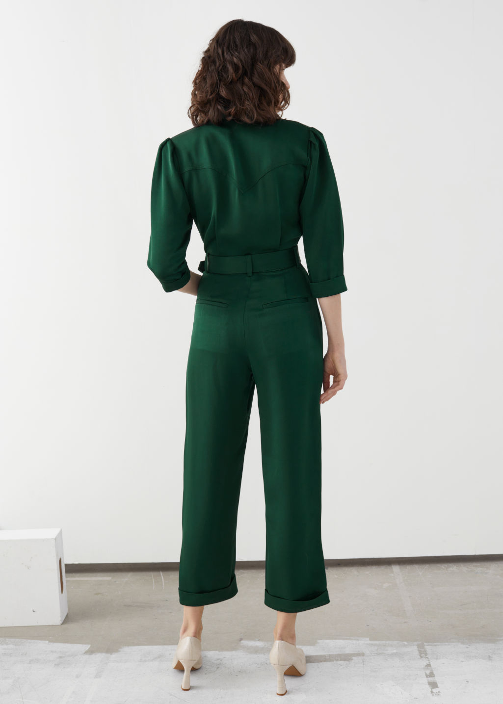 Model back image of Stories shawl collar belted boilersuit in green