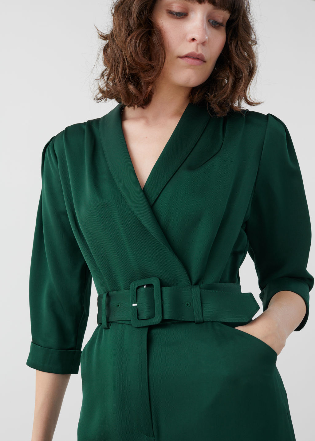 Model front image of Stories shawl collar belted boilersuit in green
