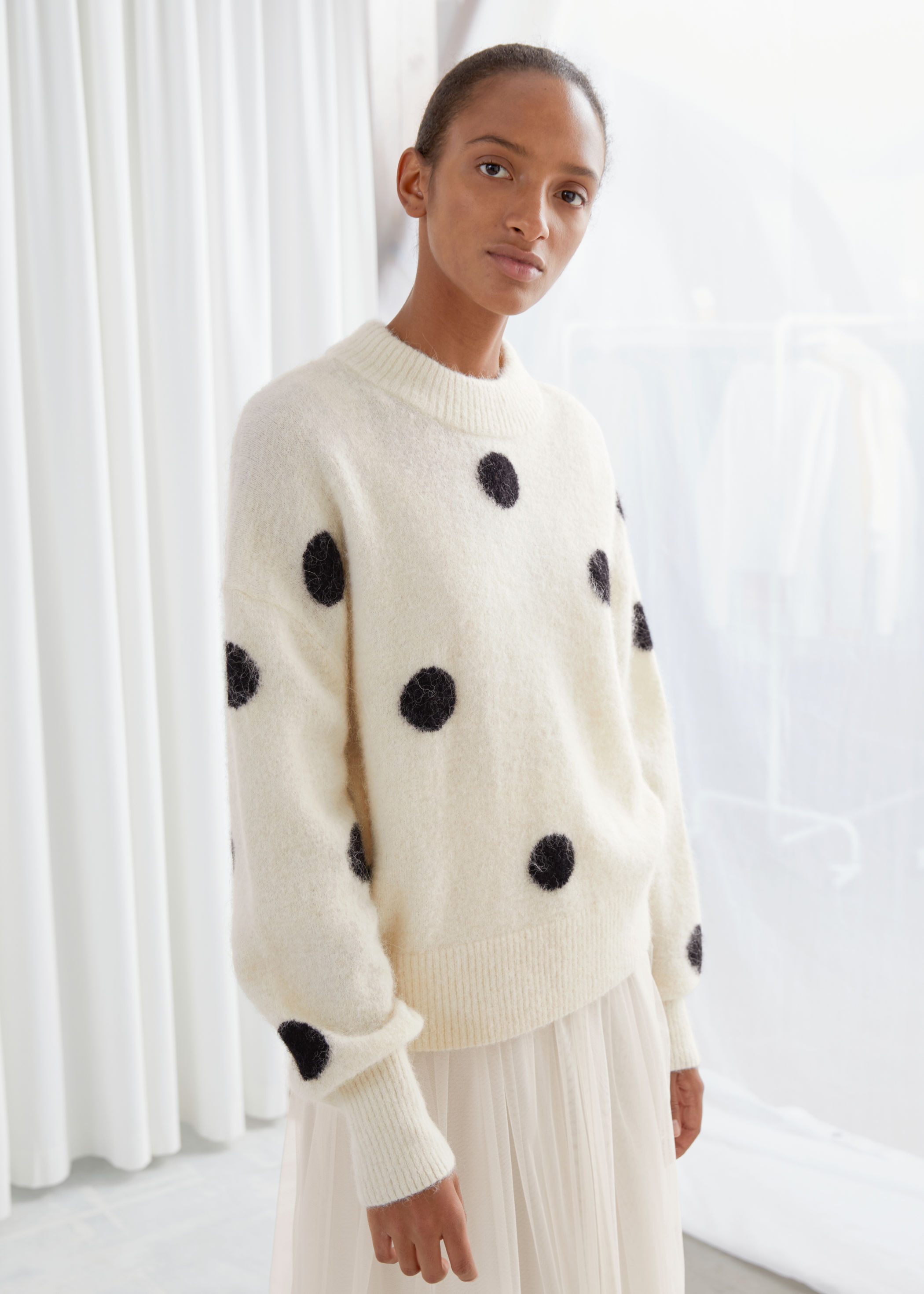 wool-blend-polka-dot-sweater by &-other-stories