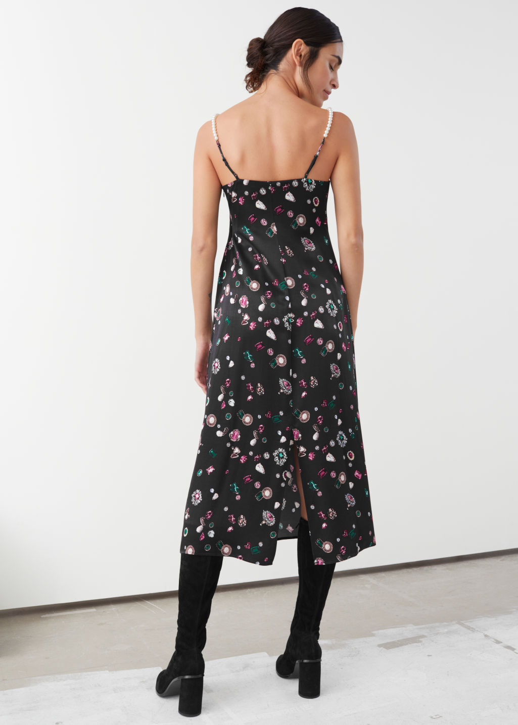 Model back image of Stories pearl strap printed gem midi dress in black