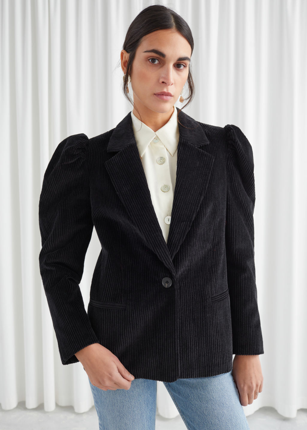 Model front image of Stories puff sleeve corduroy blazer in black