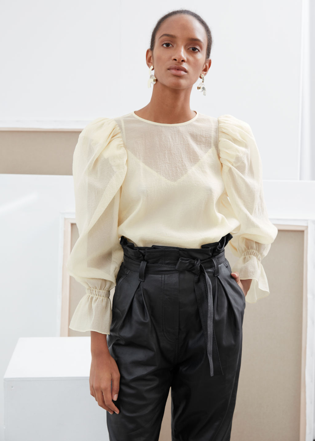 Model front image of Stories sheer puff sleeve blouse in white