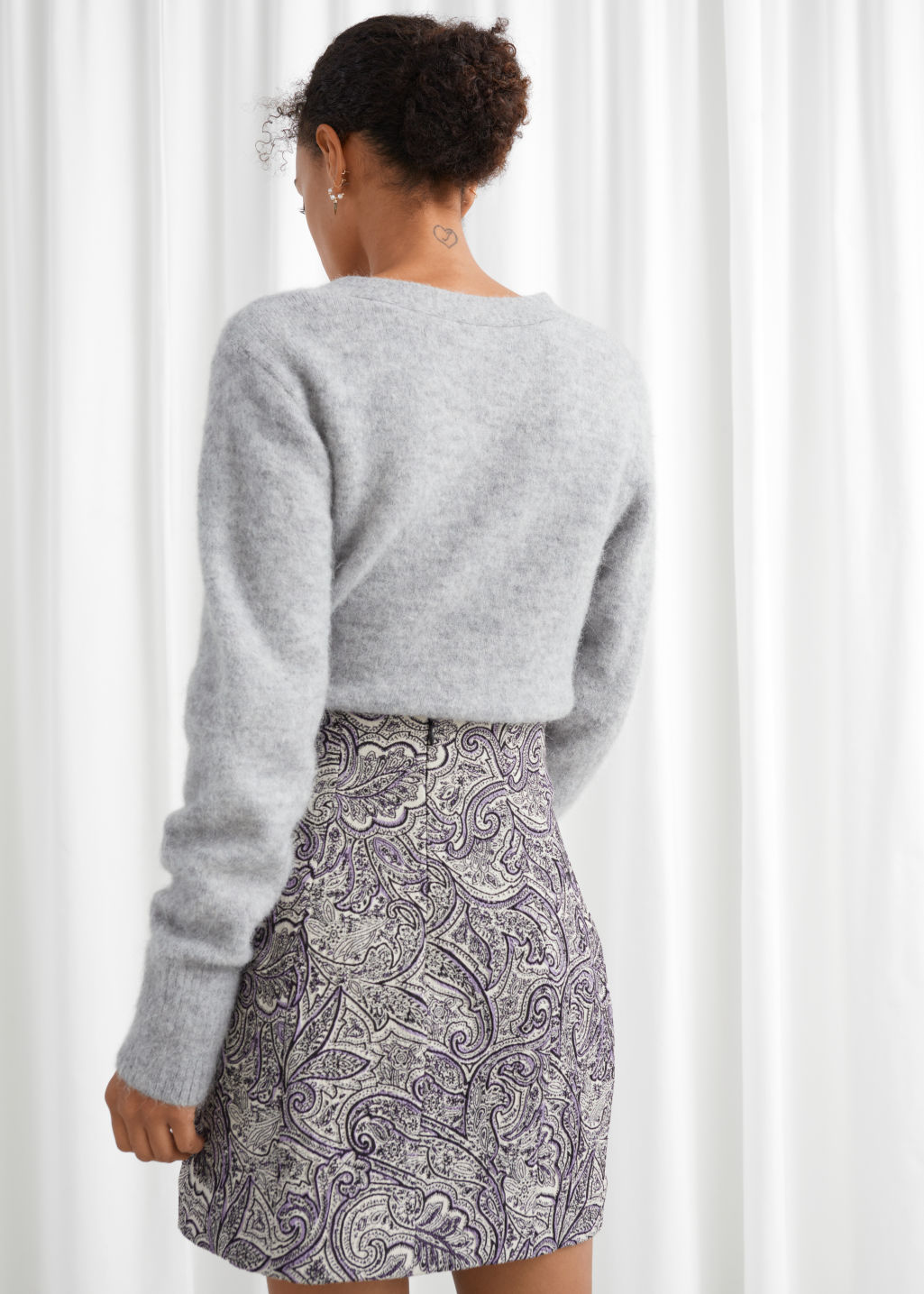 Model back image of Stories paisley jacquard mini skirt in brown