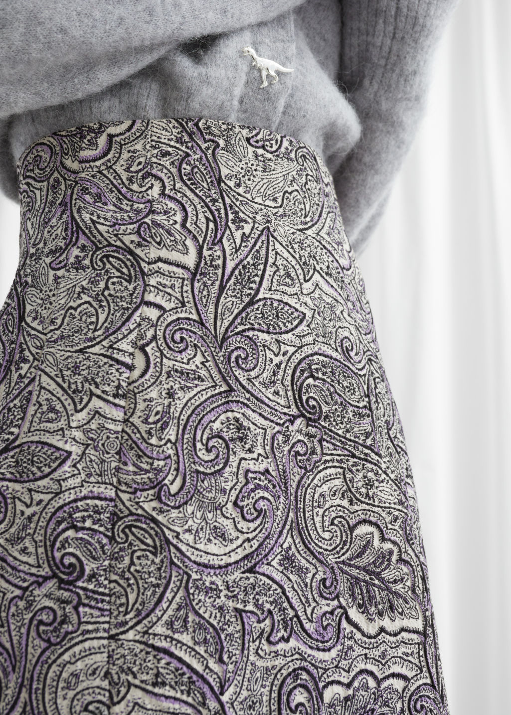 Model front image of Stories paisley jacquard mini skirt in brown