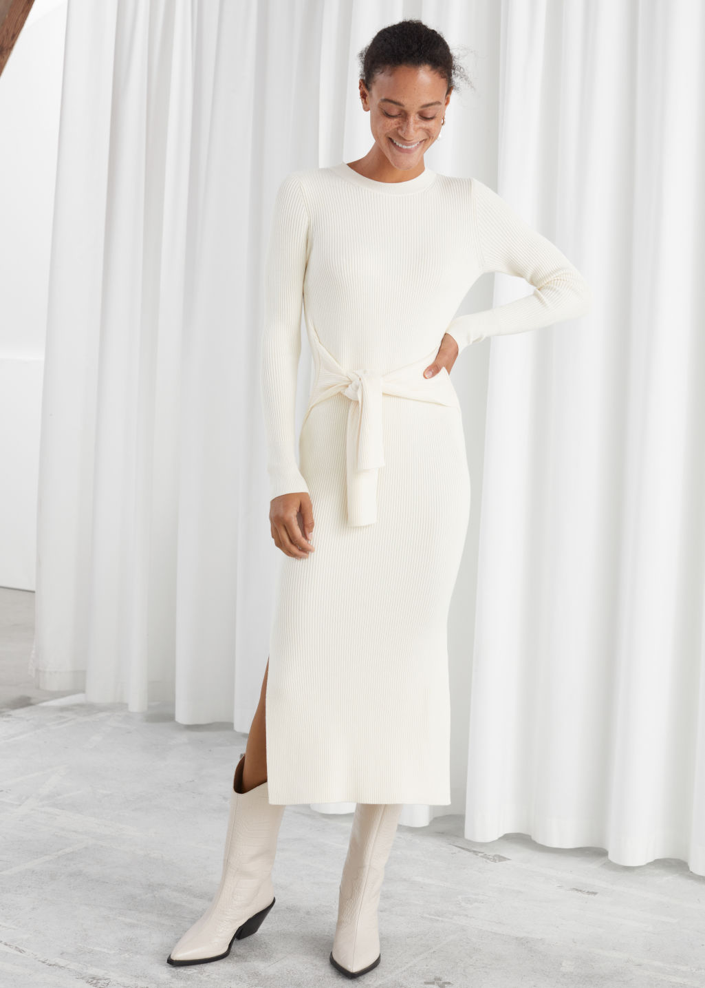 Model front image of Stories ribbed knot tie belted midi dress in white