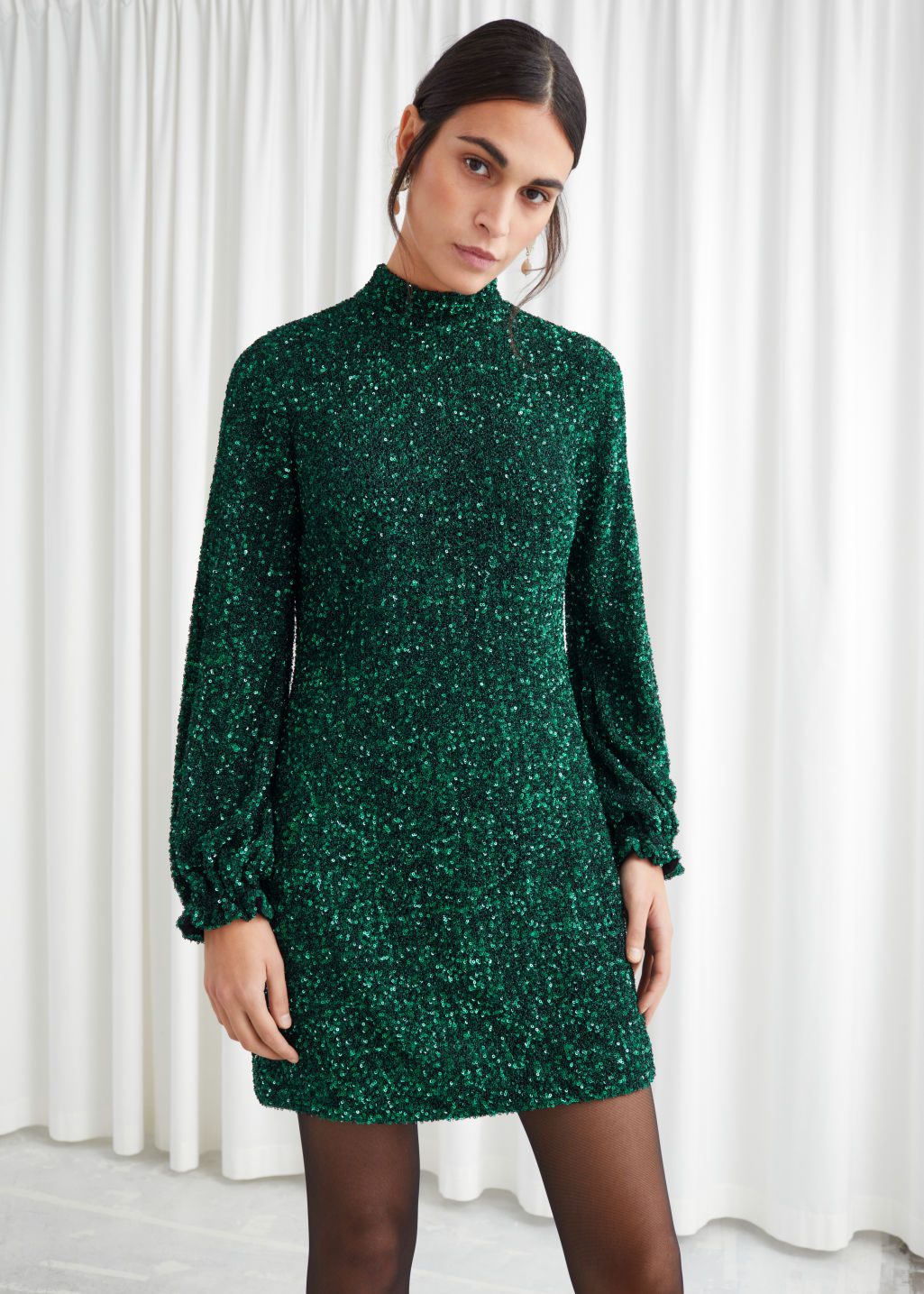 Model front image of Stories balloon sleeve sequined mini dress in green