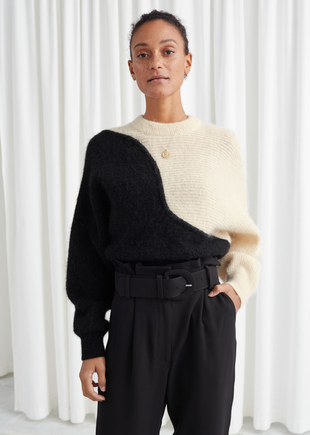 Model front image of Stories alpaca blend cropped colour block sweater in black
