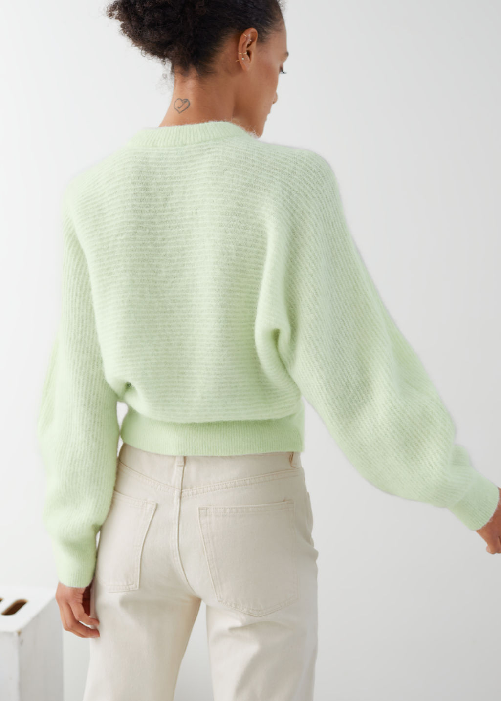 Model back image of Stories cropped wool blend puff sleeve sweater in green